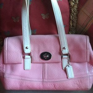 Coach Cowhide bag; pink with white straps